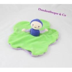 Doudou plat poupée Dim Dam Doum MOULIN ROTY vert violet Katherine Roumanoff