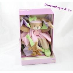 Doudou plat lapin DOUDOU ET COMPAGNIE Lila rose violet vert 24 cm