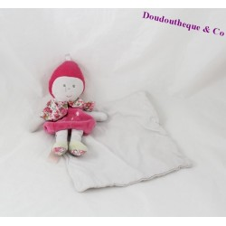 Doudou handkerchief doll BERLINGOT pink white flowers 20 cm