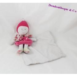 Doudou mouchoir poupée BERLINGOT rose blanc fleurs 20 cm