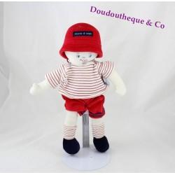 Poupée chiffon garçon SUCRE D'ORGE marin rouge 29 cm