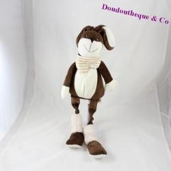 Doudou lapin LES PETITES MARIE marron blanc longues jambes 50 cm