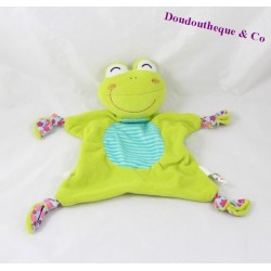 Flat Doudou frog P' little Kiss AUBERT green and blue flowers 30 cm Bell