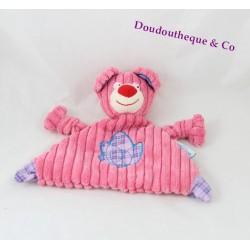 Doudou plat ours FUTUROSCOPE rose côtelé bleu mauve 24 cm