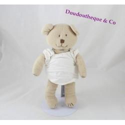 Peluche ours JACADI tricot beige robe blanche Ruban 24 cm