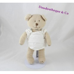 Peluche ours JACADI tricot beige robe blanche Ruban 24 cm
