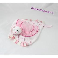 Doudou plat chat EGMONT TOYS rose rubans rectangle 28 cm
