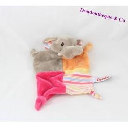 Doudou plat Elephant TOODO rose orange gris jaune noeuds