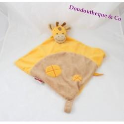 Doudou plat girafe NATTOU Jungle jaune marron orange 40 cm