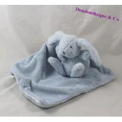 Doudou mouchoir lapin TARTINE ET CHOCOLAT bleu blanc 11 cm