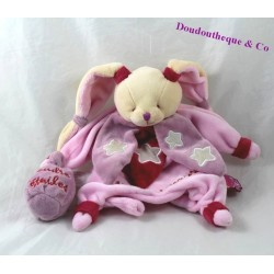 Doudou marionnette lapin DOUDOU ET COMPAGNIE Chouette ça brille luminescent rose DC2159 25 cm