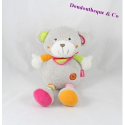 Teddy bear BABYSUN Bell gray pink green 24 cm