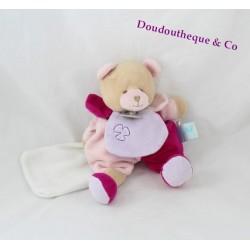 Doudou ours BABY NAT' Douceur Flower pétales rose mouchoir fleur 24 cm
