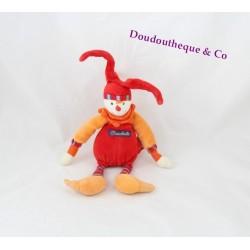 Doudou clown MOULIN ROTY Dragobert hochet grelot 25 cm