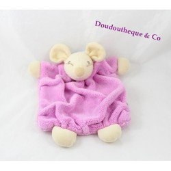Doudou plat Souris KALOO rose fushia 26 cm Collection Plume