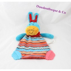 Doudou flat donkey Corsica between sky and sea blue red bell