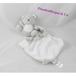 Doudou mouchoir ours CADES blanc gris motifs pois