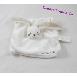 Doudou flat KIMBALOO my first white embroidery doudou rabbit Brown