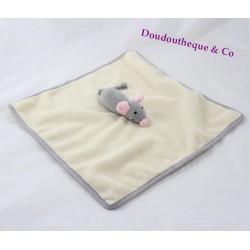 Flat Doudou mouse ARTHUR and LOLA BEBISOL 29 cm beige