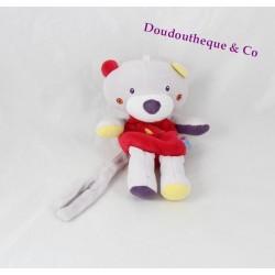 Doudou ours SUCRE D'ORGE oiseau rouge gris attache tétine 18 cm