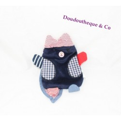 Doudou flat cat blue red pirate CATIMINI 22 cm