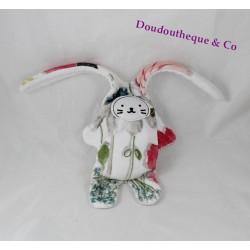 Doudou double face lapin CATIMINI blanc fleurs abeille réversible 35 cm