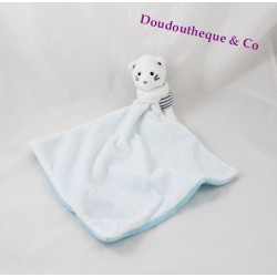 Doudou cat OBAÏBI marine stripes 40 cm blue white handkerchief