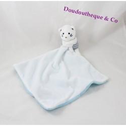 Doudou chat OBAIBI mouchoir bleu blanc rayures marin 40 cm