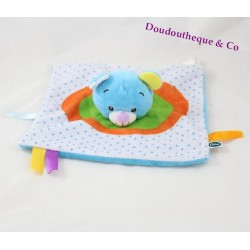 Doudou flat bear Theo DSIS mimi t blue green orange peas 25 cm