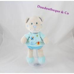 Doudou ours TEX bleu papillon escargot maison vichy 25 cm