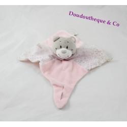 Doudou plat Violette ours NOUKIE'S rose mauve attache tétine marionnette 30 cm