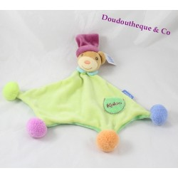 Bear flat Doudou KALOO green bear Pop with PomPoms 34 cm