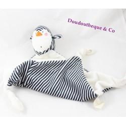 Doudou plat pingouin CarréBlanc rayé noir et blanc losange 50 cm