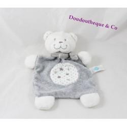 Doudou plat ours TEX BABY étoiles gris blanc 24 cm