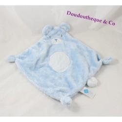 Doudou plat ours TEX BABY bleu ovale blanc losange 38 cm