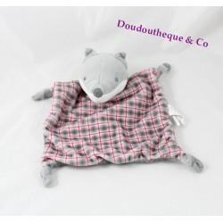 Doudou plat loup OBAIBI carreaux gris rose 4 noeuds 25 cm