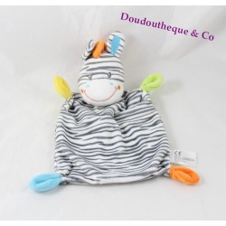 Flat blankie zebra striped grey white rectangle NICOTOY 28 cm