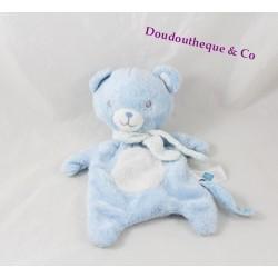 Doudou plat ours TEX BABY bleu blanc étoiles 28 cm
