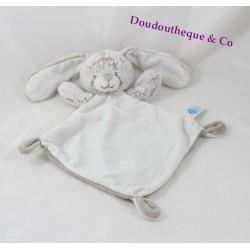 Doudou plat lapin TEX BABY beige gris fourrure losange Carrefour 3 noeuds 33 cm