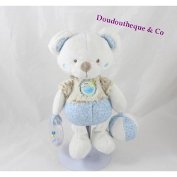 Bear awakening children's words plush ball hen beige white blue rattle