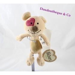 Peluche bio chien BioDours cocard en cœur beige 25 cm
