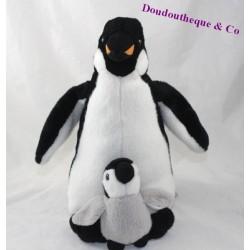 Peluche pingouin MARINELAND manchot et son bébé gris noir 29 cm