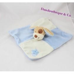Doudou plat chien NICOTOY beige bleu fleur 28 cm