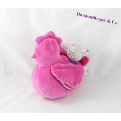 Doudou hen JACADI plush pink activities 24 cm