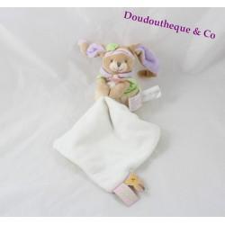 Doudou mouchoir Lila lapin DOUDOU ET COMPAGNIE rose vert mauve 28 cm