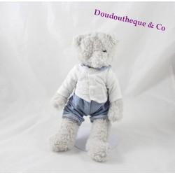 Peluche Oscar ours J-LINE gris pantalon bleu chemise blanche J Line 30 cm