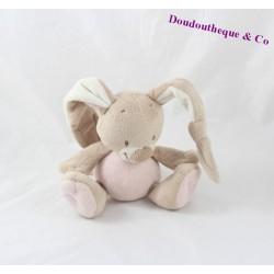 Doudou rabbit musical NATTOU funny pink beige 16 cm