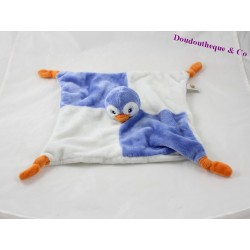 Doudou plat pingouin LASCAR PELUCHE bleu blanc 28 cm
