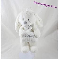 Peluche musicale lapin POMMETTE coussin bébé blanc 26 cm