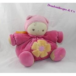 Doudou poupon KALOO Chubby Baby rose fleur jaune 21 cm